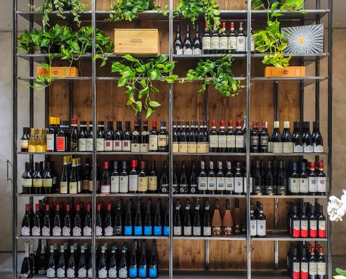 Scaffale portabottiglie vino in ferro e legno